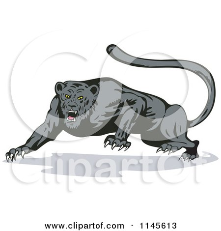 Clipart of a Growling Jaguar - Royalty Free Vector Illustration by patrimonio