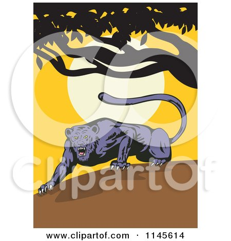 Clipart of a Prowling Jaguar Ready to Pounce at Sunset - Royalty Free Vector Illustration by patrimonio