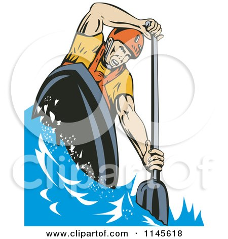 Clipart of a Kayaker Paddling 1 - Royalty Free Vector Illustration by patrimonio