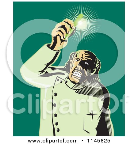 Clipart of a Retro Mad Scientist Holding up a Shining Test Tube - Royalty Free Vector Illustration by patrimonio