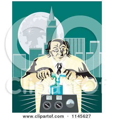 Clipart of a Retro Mad Scientist Pouring Chemicals near a City - Royalty Free Vector Illustration by patrimonio