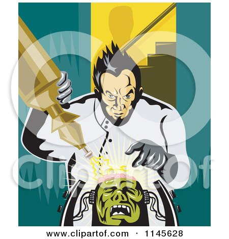 Clipart of a Retro Mad Scientist Building Frankenstein - Royalty Free Vector Illustration by patrimonio