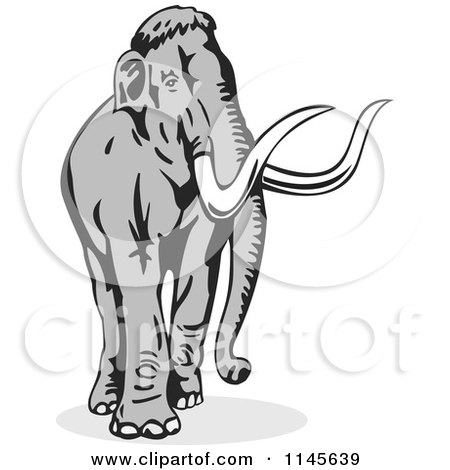 Clipart of a Retro Walking Wooly Mammoth - Royalty Free Vector Illustration by patrimonio