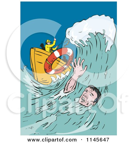 Clipart of a Man Drowning in the Ocean Reaching for a Life Buoy - Royalty Free Vector Illustration by patrimonio