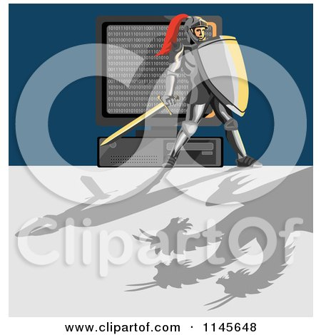 Clipart of a Knight Protecting a Computer from a Dragon Virus - Royalty Free Vector Illustration by patrimonio