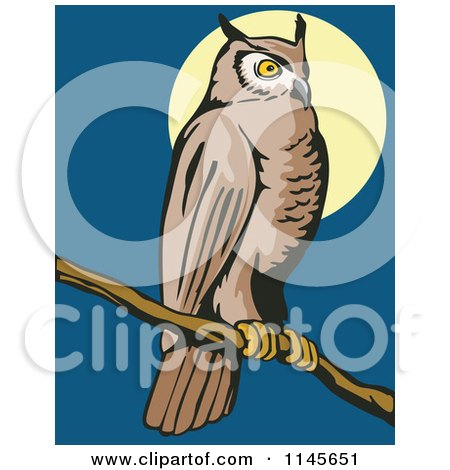 Clipart of a Wild Owl Perched Against a Full Moon - Royalty Free Vector Illustration by patrimonio