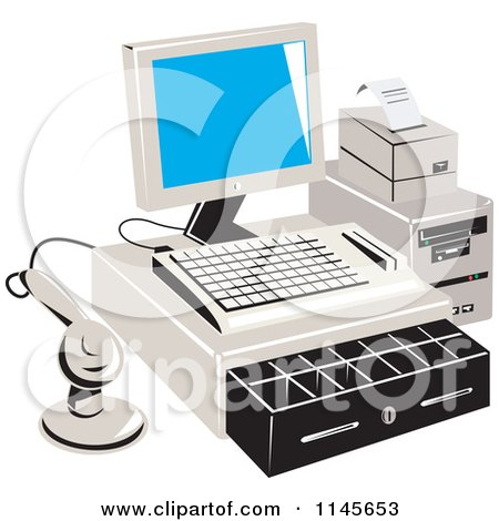 Clipart of a Retail Merchant Cash Register and Checkout System - Royalty Free Vector Illustration by patrimonio