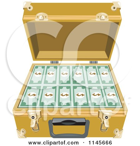Clipart of Cash in an Open Briefcase - Royalty Free Vector Illustration by patrimonio