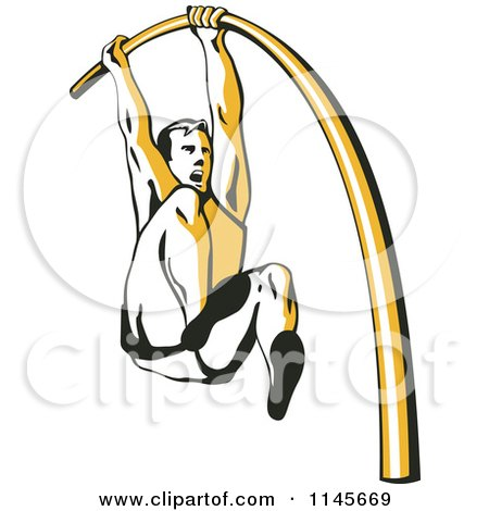 Clipart of a Retro Pole Vaulter - Royalty Free Vector Illustration by patrimonio