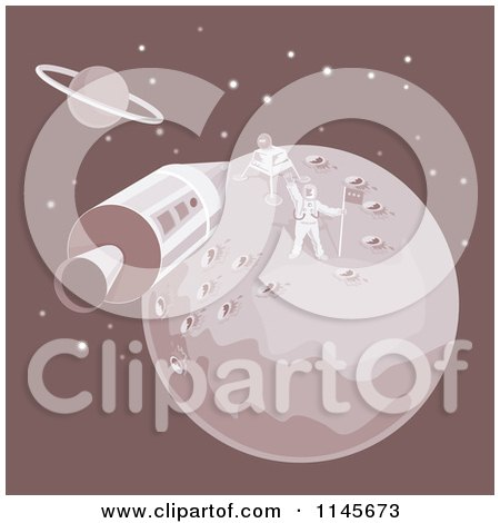 Clipart of the Moon Landing with an Astronaut and Module - Royalty Free Vector Illustration by patrimonio