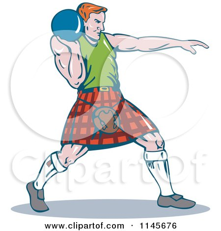Clipart of a Retro Scottish Shot Put Man - Royalty Free Vector Illustration by patrimonio