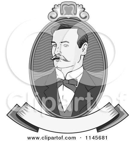 Clipart of a Victorian Grayscale Gentleman Portrait with a Banner - Royalty Free Vector Illustration by patrimonio