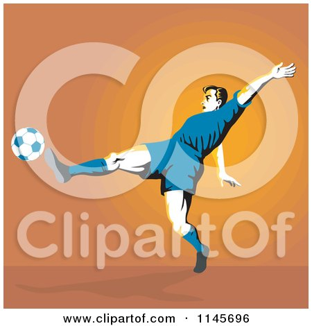 Clipart of a Soccer Player Kicking over Orange - Royalty Free Vector Illustration by patrimonio