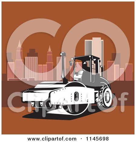 Clipart of a Retro Road Roller Tractor in a Brown City - Royalty Free Vector Illustration by patrimonio