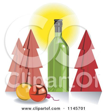 Clipart of a Green Wine Bottle with Christmas Trees and Baubles - Royalty Free Vector Illustration by patrimonio