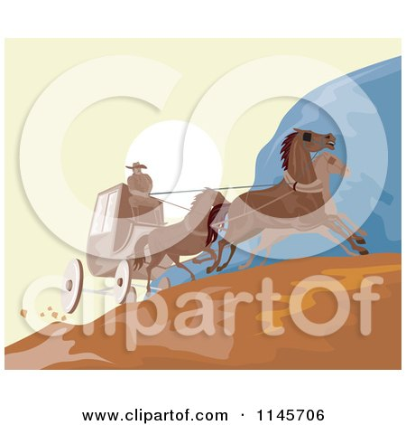 Clipart of a Wild West Stagecoach on a Road - Royalty Free Vector Illustration by patrimonio
