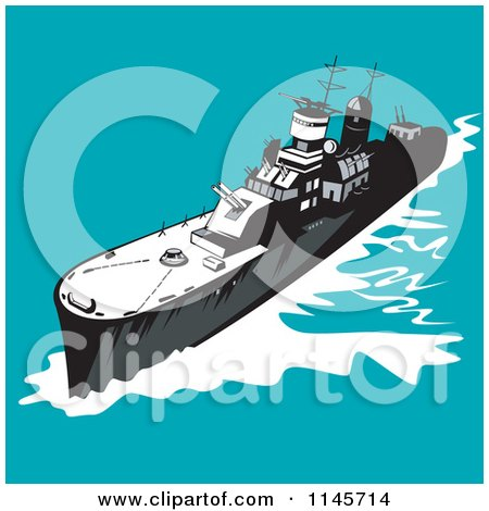 Clipart of a Retro Battleship 1 - Royalty Free Vector Illustration by patrimonio