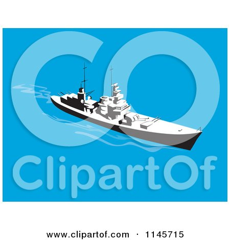 Clipart of a Retro Battleship 2 - Royalty Free Vector Illustration by patrimonio