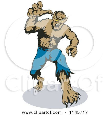 Clipart of a Werewolf Reaching Outwards - Royalty Free Vector Illustration by patrimonio