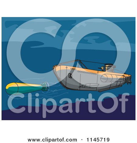 Clipart of a Submarine Launching an Underwater Missile - Royalty Free Vector Illustration by patrimonio