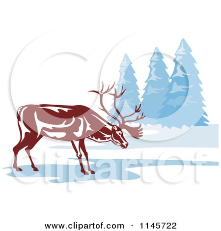 Clipart of a Reindeer on a Frozen Lake - Royalty Free Vector Illustration by patrimonio