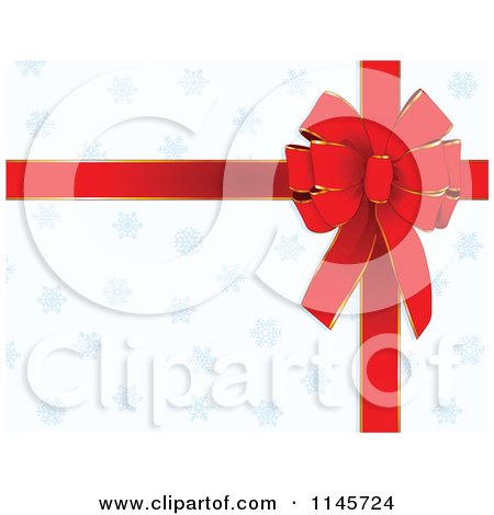 Clipart of a Red Christmas Bow and Ribbon over Blue Snowflakes on White - Royalty Free Vector Illustration by Pushkin