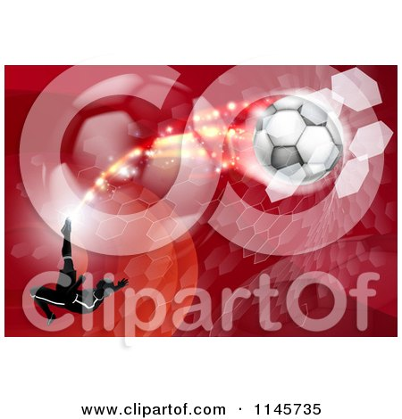 Clipart of a Silhouetted Athlete Kicking a Soccer Ball over Red Waves Balls and Hexagons - Royalty Free Vector Illustration by AtStockIllustration