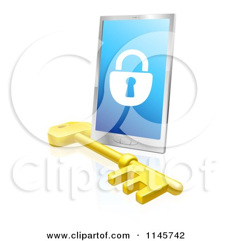 Clipart of a 3d Secure Locked Smart Phone and Skeleton Key - Royalty Free Vector Illustration by AtStockIllustration
