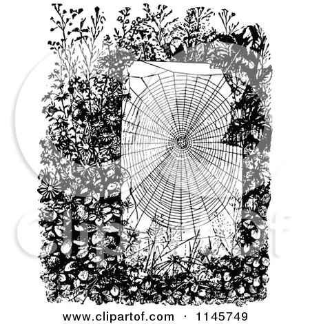 Clipart of a Retro Vintage Black and White Spider Web in a Garden - Royalty Free Vector Illustration by Prawny Vintage