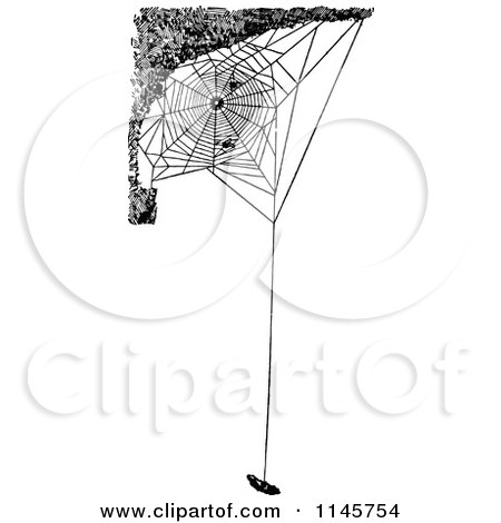 Clipart of a Retro Vintage Black and White Spider Web with Suspended Prey - Royalty Free Vector Illustration by Prawny Vintage