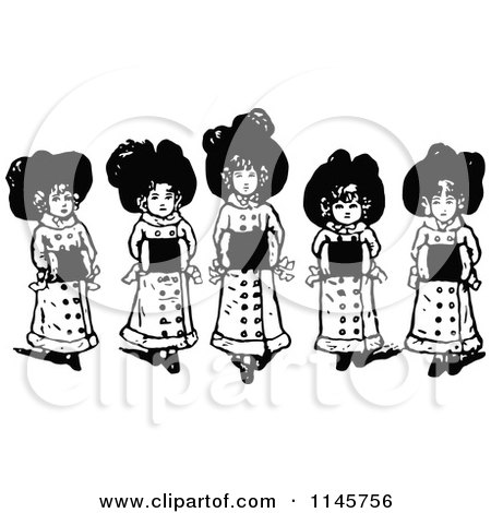 Clipart of Retro Vintage Black and White Girls with Muffs - Royalty Free Vector Illustration by Prawny Vintage