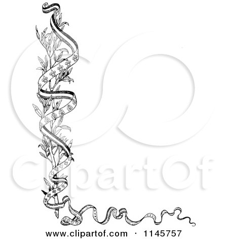 Clipart of a Retro Vintage Black and White Branch and Ribbon Border - Royalty Free Vector Illustration by Prawny Vintage
