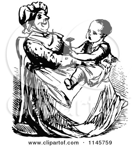 Clipart of a Retro Vintage Black and White Girl on Her Grandmas Lap - Royalty Free Vector Illustration by Prawny Vintage