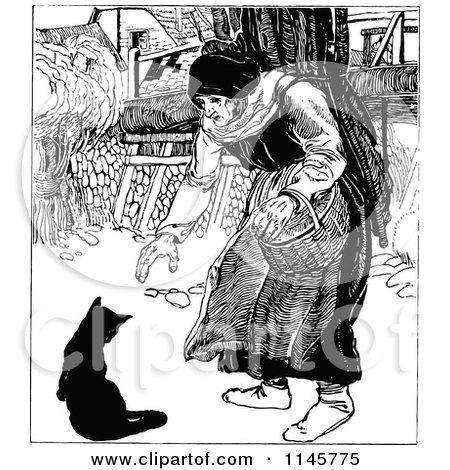 Clipart of a Retro Vintage Black and White Old Woman and Cat - Royalty Free Vector Illustration by Prawny Vintage