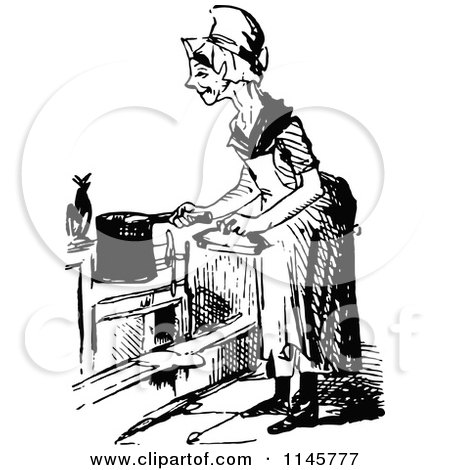 Clipart of a Retro Vintage Black and White Old Woman Cooking - Royalty Free Vector Illustration by Prawny Vintage