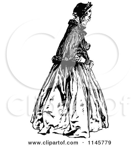 Clipart of a Retro Vintage Black and White Old Woman with a Cane - Royalty Free Vector Illustration by Prawny Vintage