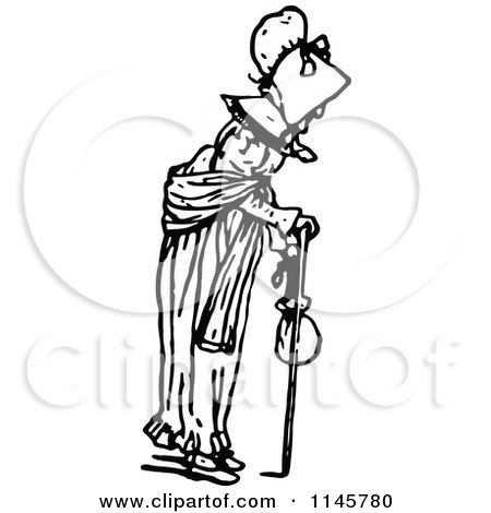 Clipart of a Retro Vintage Black and White Old Woman Using a Cane - Royalty Free Vector Illustration by Prawny Vintage
