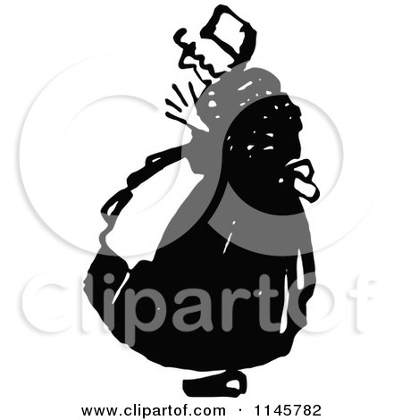 Clipart of a Retro Vintage Black and White Old Woman - Royalty Free Vector Illustration by Prawny Vintage