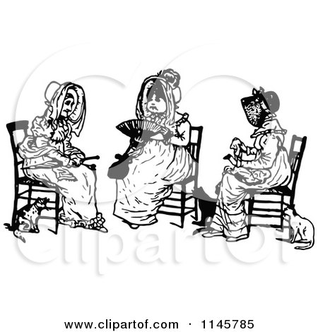 Clipart of a Retro Vintage Black and White Trio of Old Women Sitting - Royalty Free Vector Illustration by Prawny Vintage