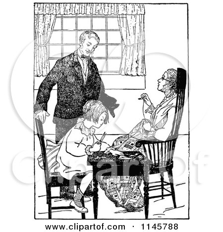 Retro Vintage Black and White Girl and Her Parents Quilting Posters, Art Prints