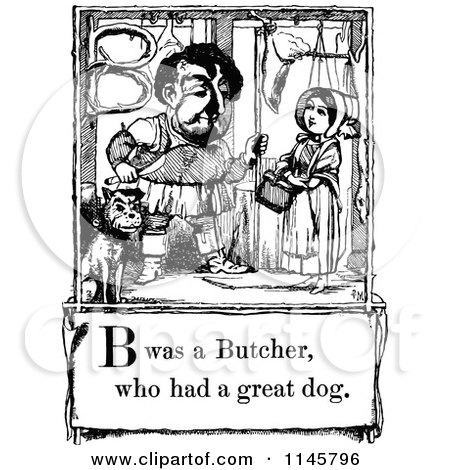 Clipart of a Retro Vintage Black and White Letter Page with B Was a Butcher Who Had a Great Dog Text - Royalty Free Vector Illustration by Prawny Vintage