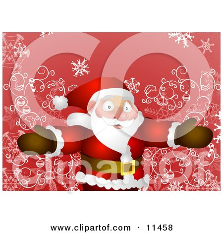 Friendly Santa Standing With Open Arms Clipart Illustration by AtStockIllustration