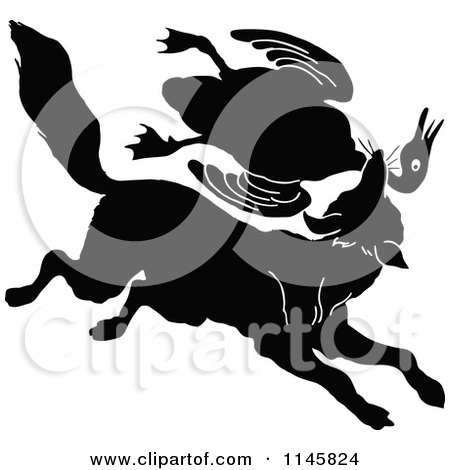 Clipart of a Retro Vintage Silhouetted Fox Lattacking a Goose - Royalty Free Vector Illustration by Prawny Vintage