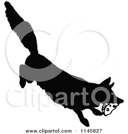 Clipart of a Retro Vintage Silhouetted Fox Stealing Food - Royalty Free Vector Illustration by Prawny Vintage