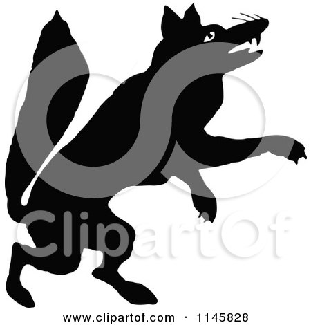 Clipart of a Retro Vintage Silhouetted Fox Jumping - Royalty Free Vector Illustration by Prawny Vintage