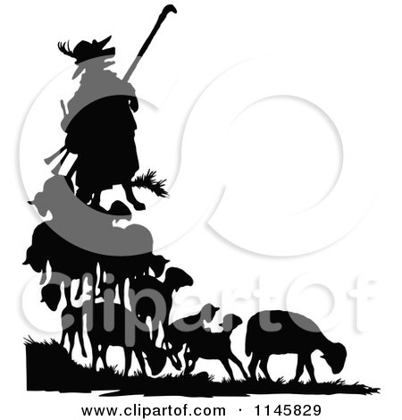 Clipart of a Retro Vintage Silhouetted Fox in Shepherd Clothing and Sheep - Royalty Free Vector Illustration by Prawny Vintage