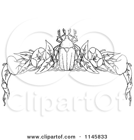 Clipart of a Retro Vintage Black and White Beetle and Floral Page Border 2 - Royalty Free Vector Illustration by Prawny Vintage