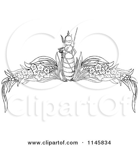 Clipart of a Retro Vintage Black and White Ant and Floral Page Border - Royalty Free Vector Illustration by Prawny Vintage