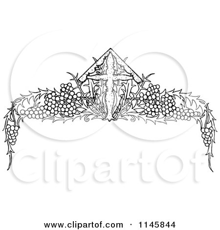 Clipart Of A Retro Vintage Black And White Cross And Crown ...