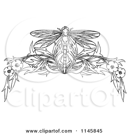 Clipart of a Retro Vintage Black and White Dragonfly and Floral Page Border - Royalty Free Vector Illustration by Prawny Vintage
